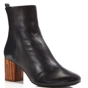 NIB Tory Burch Black Wood Brown Raya Heel Booties